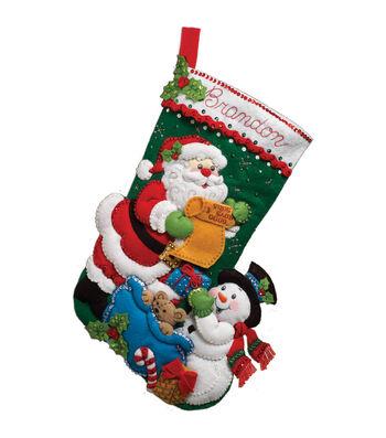 Bucilla Felt Applique Kit Santa's List Stocking