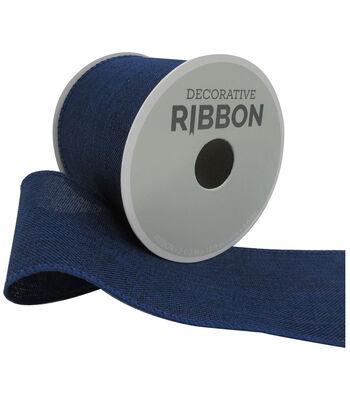 Decorative Ribbon 2.5''x12' Linen Ribbon-Navy