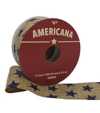 "Americana Ribbon 1.5""x12'-Blue Stars on Linen"