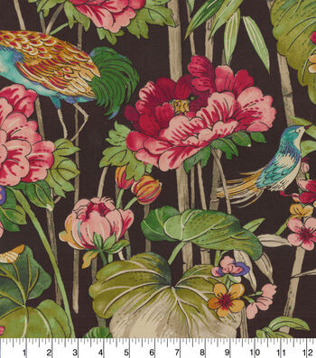 "Waverly Upholstery Fabric 54""-Peace Garden Onyx"