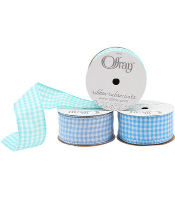 """Offray 1.5""""x9' Gingham Check and Plaid Wired Edge Taffeta Ribbon"""