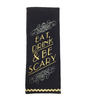 Maker's Halloween Velour & Terry Hand Towel-Eat, Drink & Be Scary
