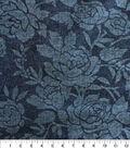 Denim Fabric -  Rose Embossed Blue Denim