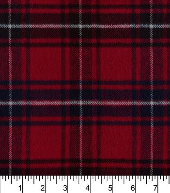 """Plaiditudes Brushed Cotton Fabric 44""""-Cherry Red White Blue"""