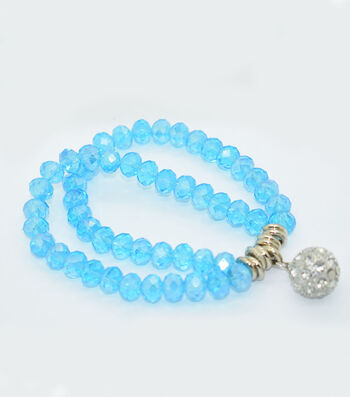 Crystal Two Line Drop Bracelet-Turquoise
