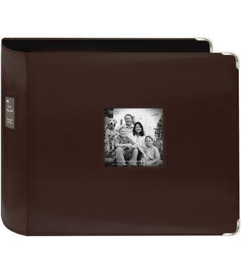 """Pioneer Sewn Leatherette 3-Ring Binder 12""""X12""""-Brown"""