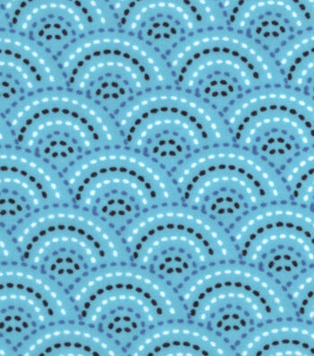 """3 Yard Pre-Cut Snuggle Flannel Fabric 42""""-Peacock Dotted Scales"""