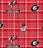 "University of Georgia Bulldogs Cotton Fabric 44""-Plaid, , hi-res"
