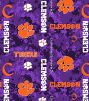 "Clemson University Tigers Fleece Fabric 60""-Digital Camo, , hi-res"