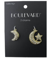 hildie & jo™ Boulevard 2 Pack Moon & Moon with Star Gold Charms, , hi-res