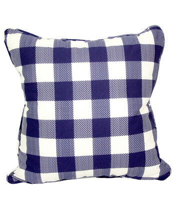 Americana Patriotic Outdoor Solarium Pillow-Navy Gingham Print