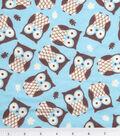 Snuggle Flannel Fabric 42\u0027\u0027-Owls on Turquoise