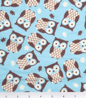 Snuggle Flannel Fabric 42''-Owls on Turquoise