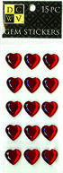 DCWV Heart Gem Stickers-Large Red hearts