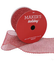 Maker's Holiday Christmas Glitter Mesh Ribbon 4''x40'-Red, , hi-res