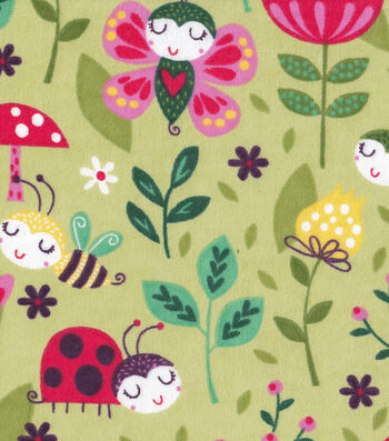 "Snuggle Flannel Fabric 42""-Sweet Bugs"