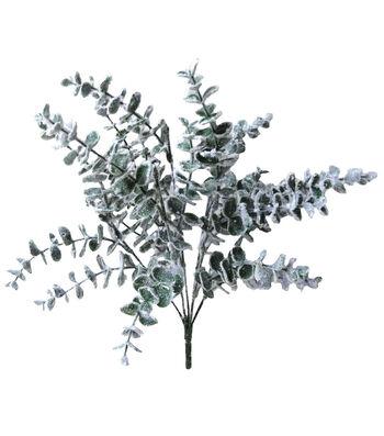 Blooming Holiday Christmas 20'' Snow Eucalyptus Leaves Spray-Green