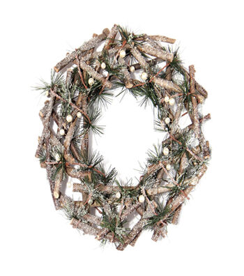Blooming Holiday Christmas 12'' Twig & Pine Wreath-Pearl
