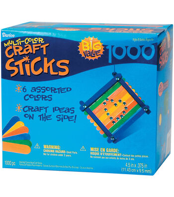 "Wood Jumbo Craft Sticks-Assorted Colors-4.5"" 1000/Pkg"