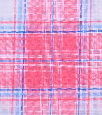 Cotton Shirting Fabric 42''-Coral Plaid