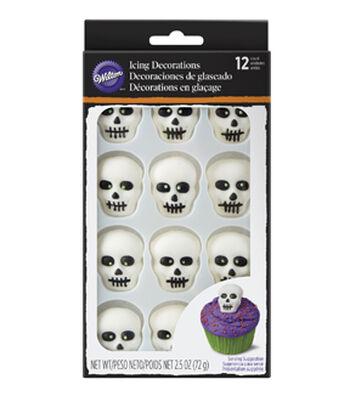 Wilton® Halloween 12 pk Skeleton Icing Decorations-Black & White