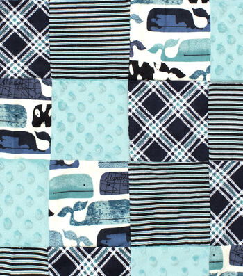 Nursery 3D Patchwork Fabric 44''-Baby Whale