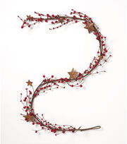Blooming Holiday Christmas 66'' Berry & Star Garland-Red, , hi-res