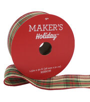 Maker's Holiday Christmas Ribbon 1.5''x30'-Beige, Red, Green Small Plaid, , hi-res