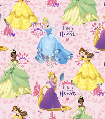 "Disney® Princess Cotton Fabric 43""-Multi Hearts"