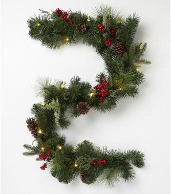 Blooming Holiday Christmas Berry, Pinecones & Pine Garland-Green & Red