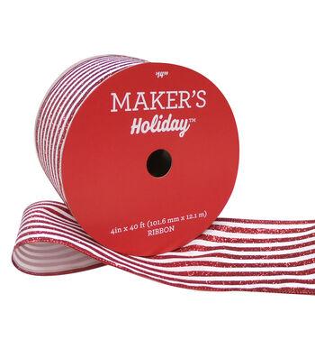 Maker's Holiday Christmas Ribbon 4''x40'-Red Glitter Stripe on White