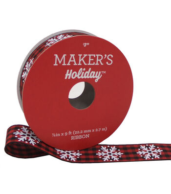 Maker's Holiday Gingham Ribbon 7/8''X9'-Snowflakes on Red & Black