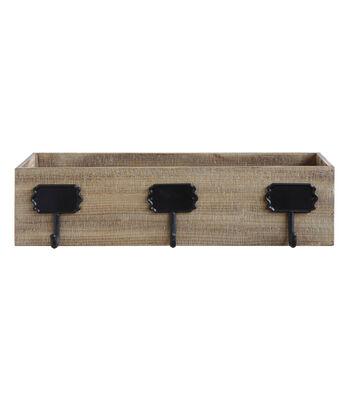 3R Studios Christmas Wood Box Stocking Holder with 3 Hooks