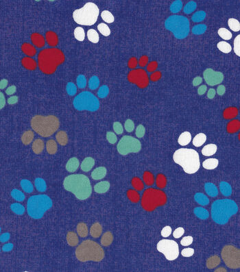 "Snuggle Flannel Fabric 42""-Paw Prints On Blue"