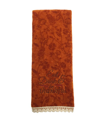 Fall Into Color Velour & Terry Hand Towel- Eat, Drink & Be Thankful