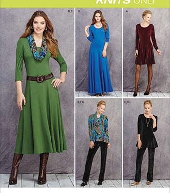Simplicity Patterns Us1018H5-Simplicity Miss/Petite Knit Dresses, Tunics, Pant& Cowl-6-8-10-12-14