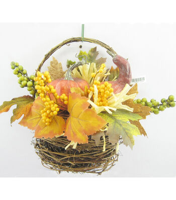 Fall For All Pumpkin, Berry & Maple Leaves In Vine Basket Arrangement Green & Yellow