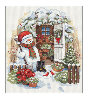 Dimensions® Counted Cross Stitch Kit-Garden Shed Snowman