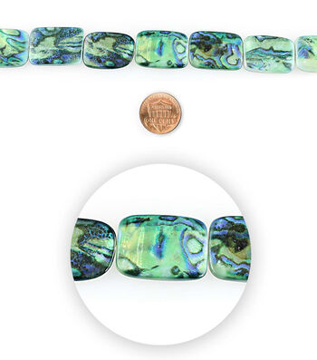 Blue Moon Bead Strands Shell Rectangles Marble Blue
