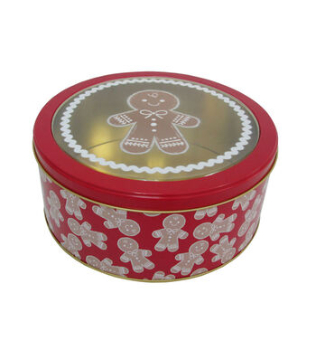 Maker's Holiday Medium Round Clear Top Cookie Container-Gingerbread