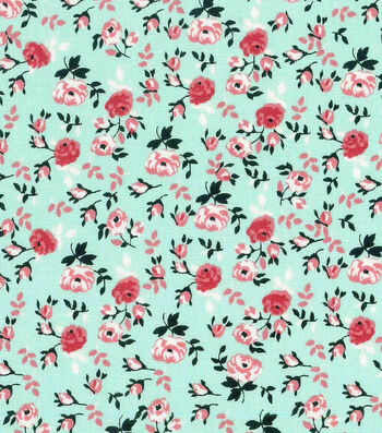 """Keepsake Calico™ Cotton Fabric 43""""-Packed Floral Mint"""