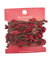 Blooming Holiday Christmas 9' Berry Roping Garland-Red, , hi-res