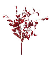 Blooming Holiday Christmas 20'' Sino Glitter Leaf Spray-Red, , hi-res