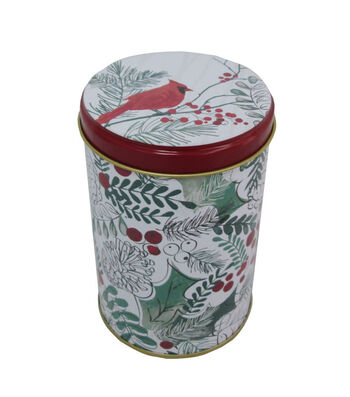 Maker's Holiday Christmas Small Round Solid Top Canister-Cardinal