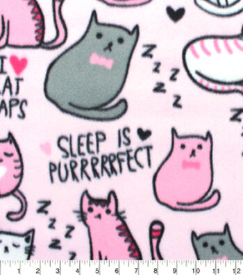 Blizzard Fleece Fabric 59''-Cat Naps