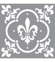 "Americana Decor Stencil 12""X12""-Fleur De Lis Tile, , hi-res"