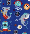 Snuggle Flannel Fabric 42\u0027\u0027-Sea Animal Rock Band