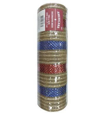 "Americana Decorative Mesh Ribbon 10""x30'-Natural, Red & Blue Stripes"