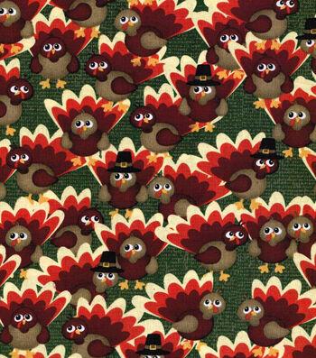 "Autumn Inspirations™ Cotton Fabric 43""-Watercolor Turkeys"