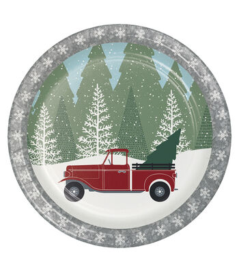 Maker's Holiday Christmas 8 pk Dinner Plates-Winter Drive